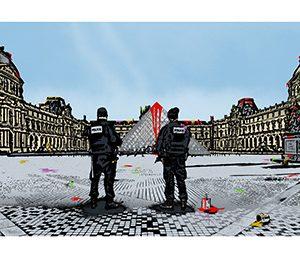 Nick Walker Sérigraphie Street Art Vandal VS Louvre Galerie d'art en ligne