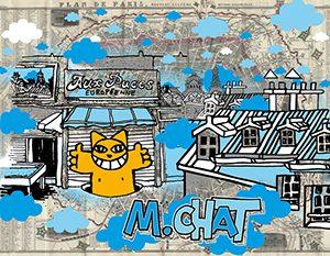 M Chat silkscreen Paris 1858 Street Art Gallery Online