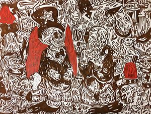 Fabien Verschaere Me Versus Me Sérigraphie sur acier Corten Art Contemporain Galerie d'art en ligne