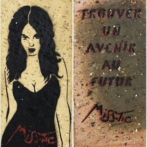 Miss Tic Trouver un avenir au futur Edition limitée Pochoir Brique Street art Galerie d'art en ligne